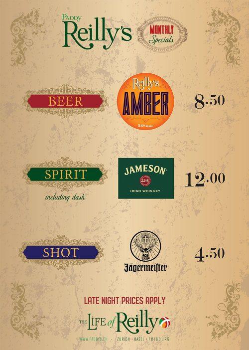 Reillys drinks poster (B&Z) OCT'20